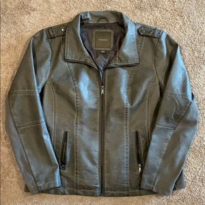 Maurices Gray Faux Leather Moto Jacket